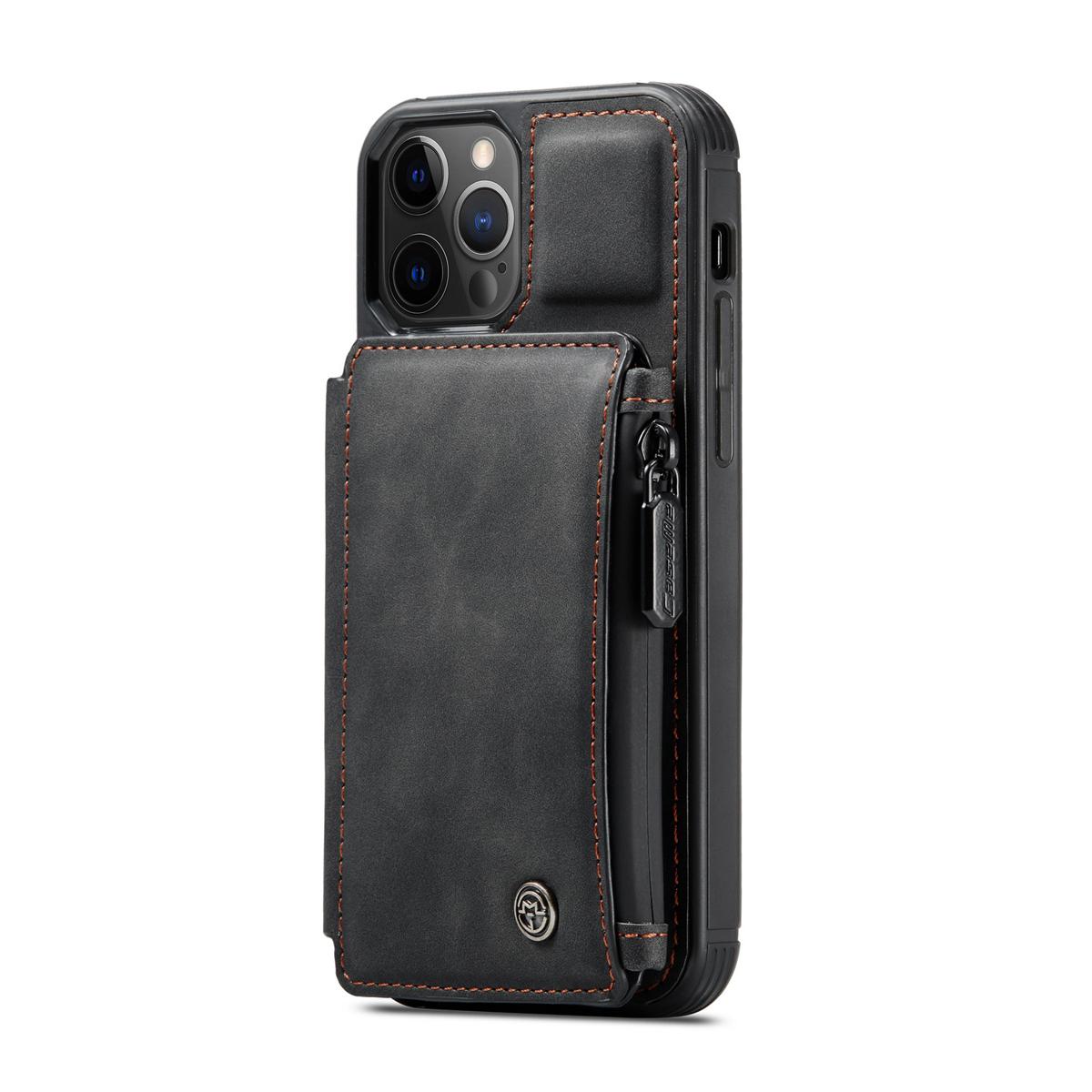 CaseMe C20 Series läderfodral till iPhone 12/12 Pro, svart
