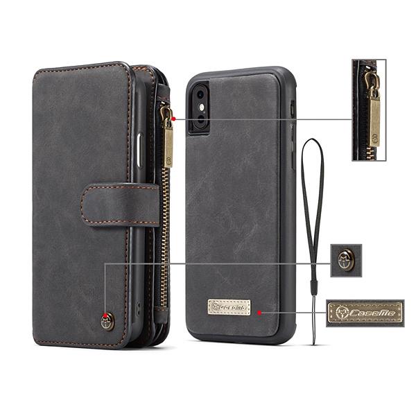 CaseMe plånboksfodral med magnetskal, iPhone XS Max 6.5, svart