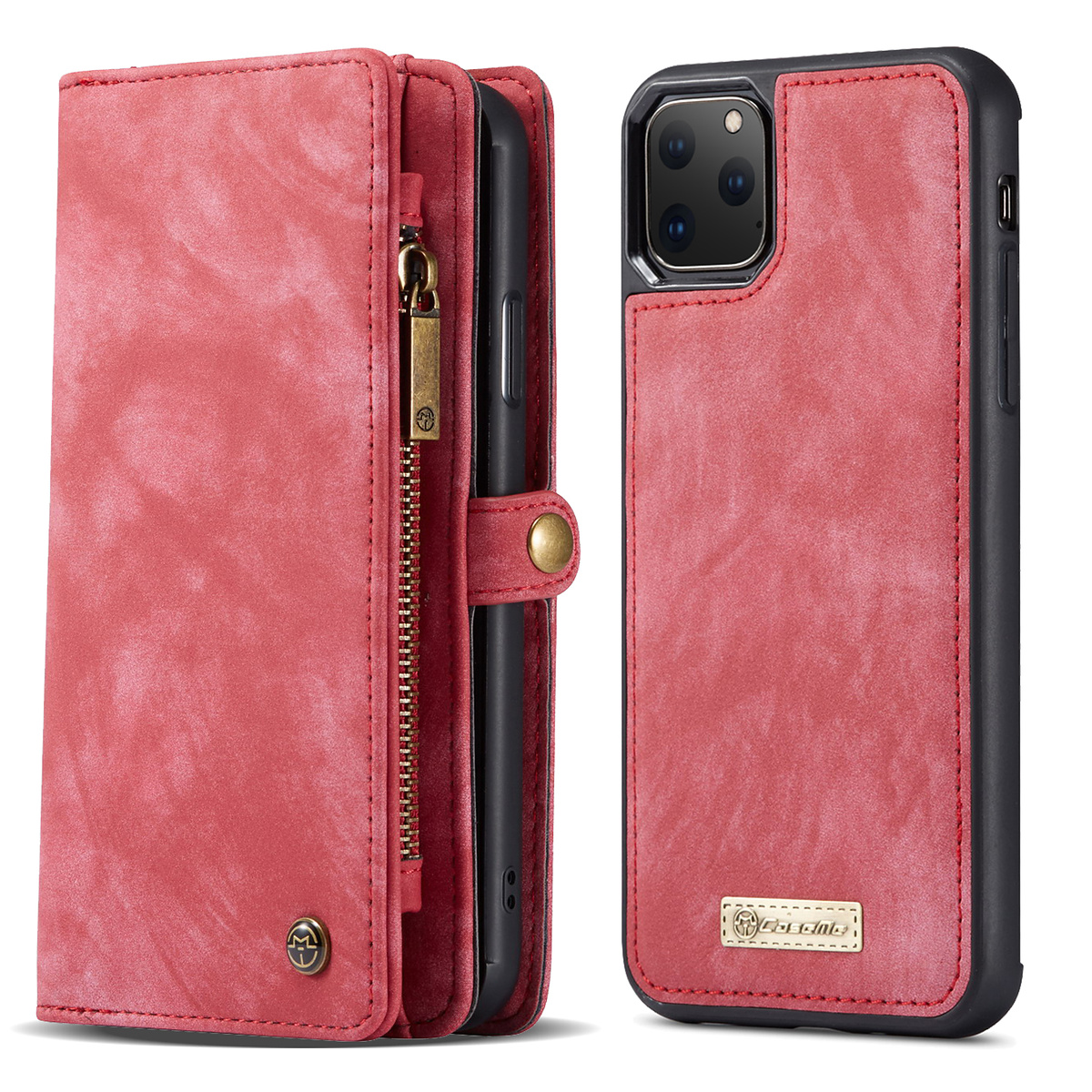 CaseMe läderfodral med magnetskal till iPhone 11 Pro Max, röd