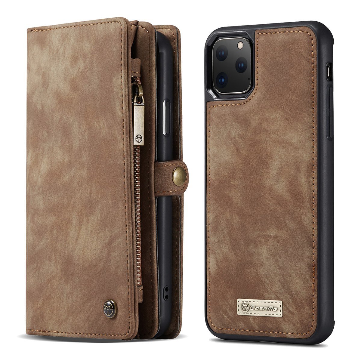 CaseMe plånboksfodral med magnetskal till iPhone 11 Pro, brun
