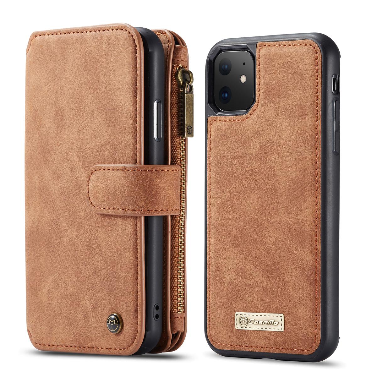 CaseMe plånboksfodral med magnetskal till iPhone 11, brun