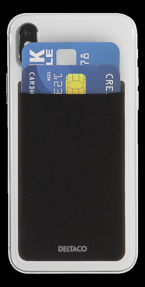 Deltaco kreditkortshållare, RFID-blockering, 3M Lim, svart
