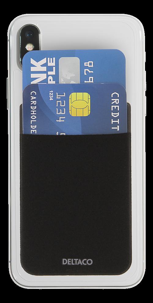Deltaco kreditkortshållare, 3M Lim, svart