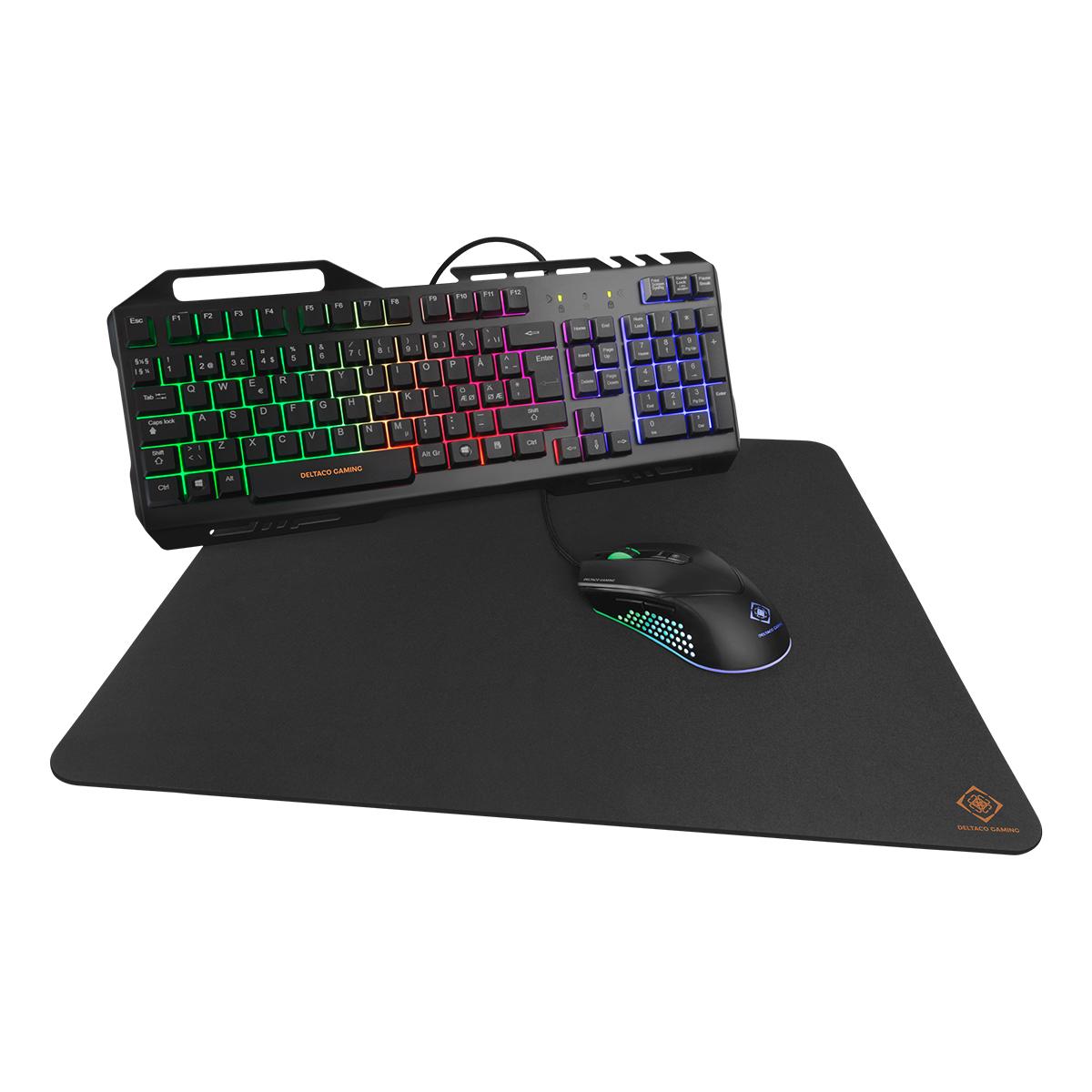 Deltaco Gaming 3-i-1 Gaming-kit, RBG LED, svart