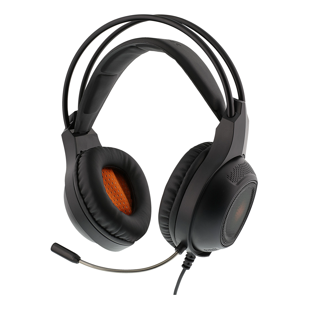 DELTACO GAMING Stereo headset, 2 x 3.5 mm, LED, 2 m cable, black