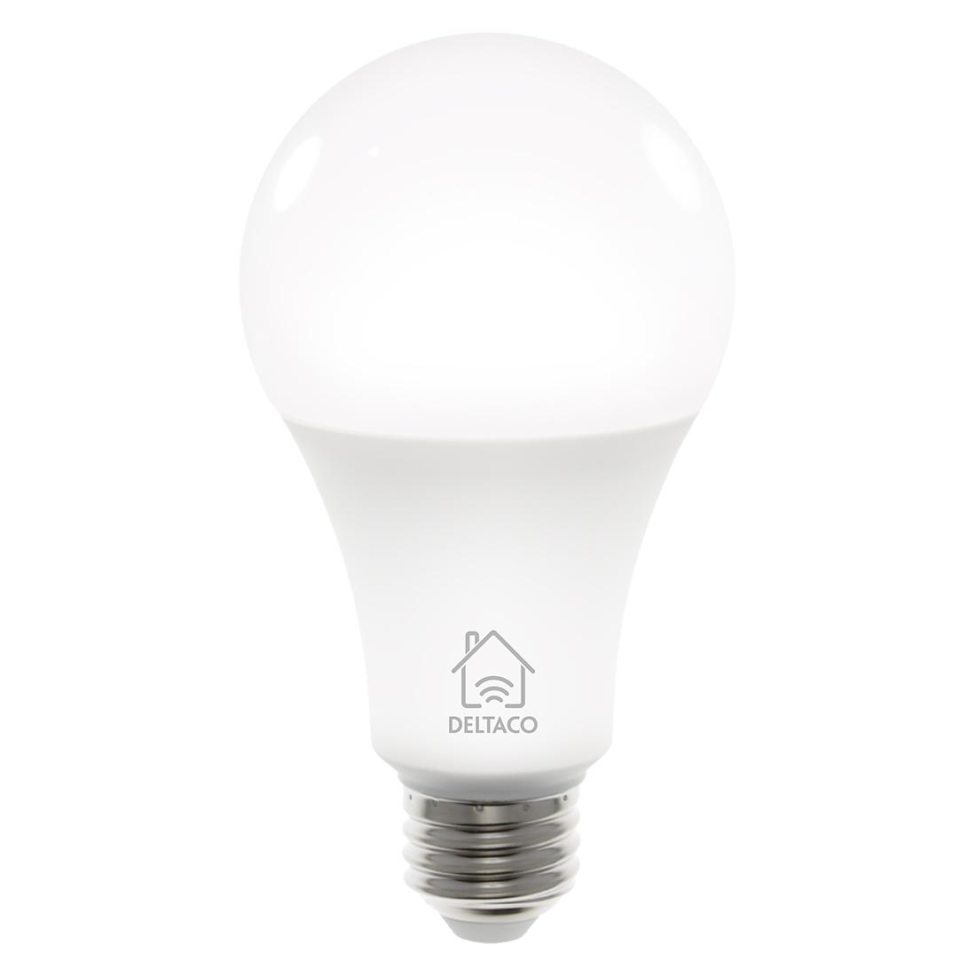 Deltaco Smart Home LED-lampa, E27, WiFi, 9W, 2700K-6500K, dimbar