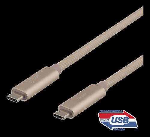 Deltaco USB-C SuperSpeed-kabel, USB 3.1, Gen 2, 0.5m, guld