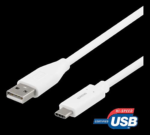 Deltaco USB-C till USB-A kabel, 1.5m, USB2.0, vit