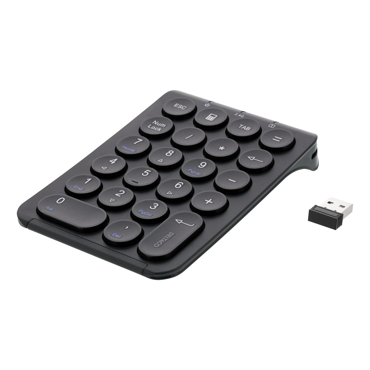 Deltaco trådlöst numeriskt tangentbord, uppladdningsbart batteri
