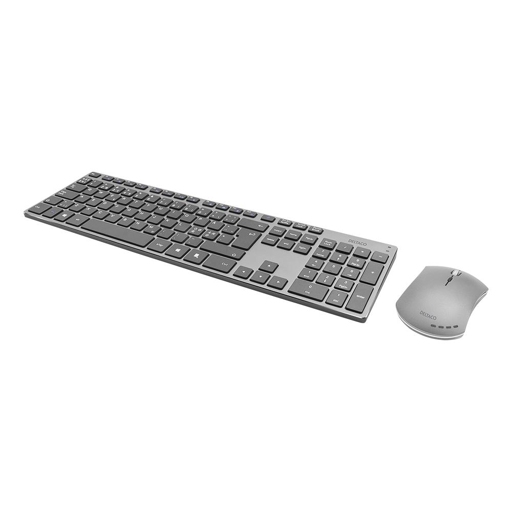 Deltaco trådlöst tangentbord och mus, uppladdningsbara, grå