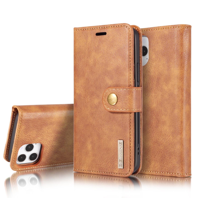 DG.MING Läderfodral med magnetskal, iPhone 12/12 Pro, brun