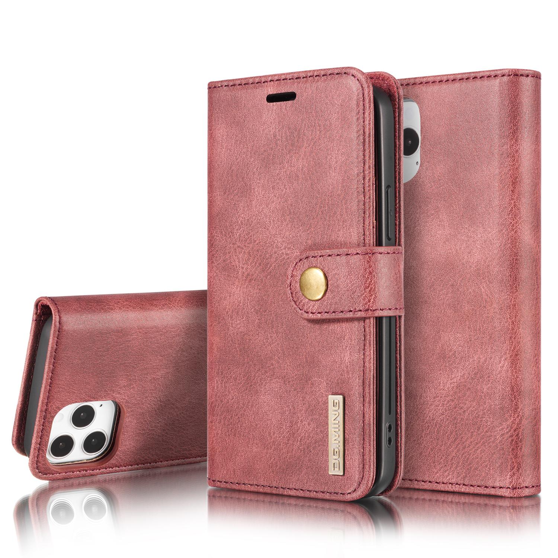 DG.MING Läderfodral med magnetskal, iPhone 12/12 Pro, röd