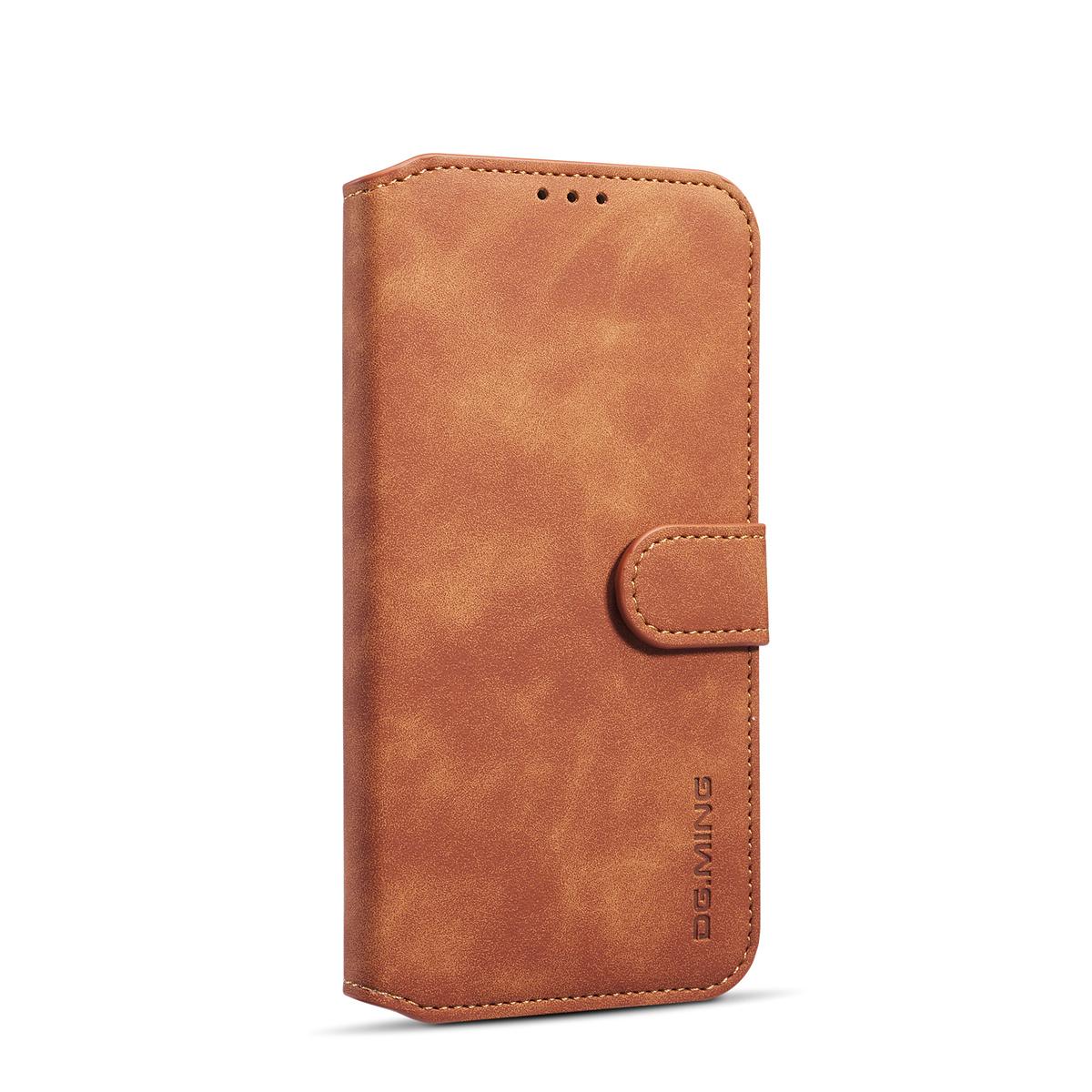 DG.MING Retro fodral, ställ, kortplats, iPhone XR, brun
