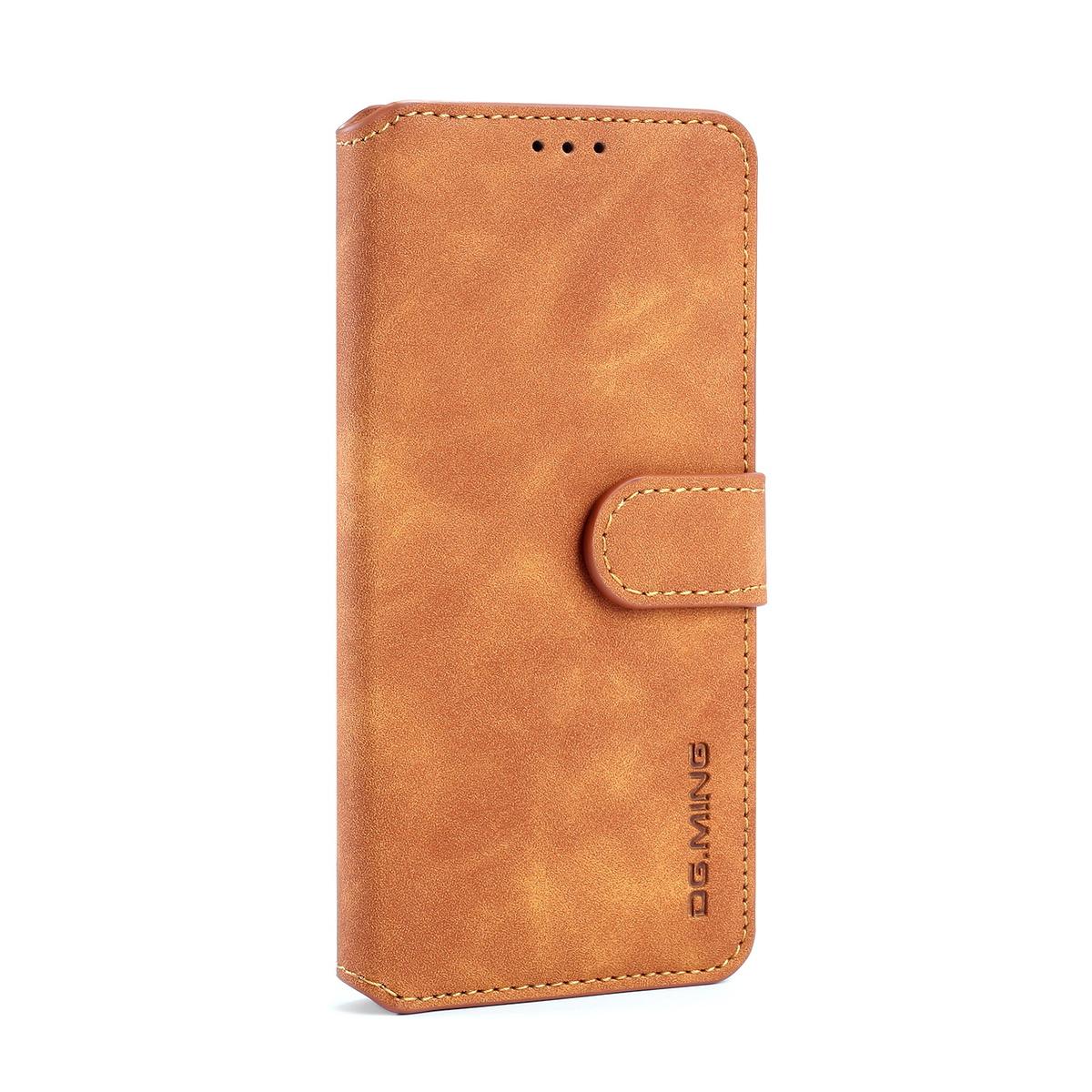 DG.MING Retro fodral med kortplats, ställ, Samsung S10, brun