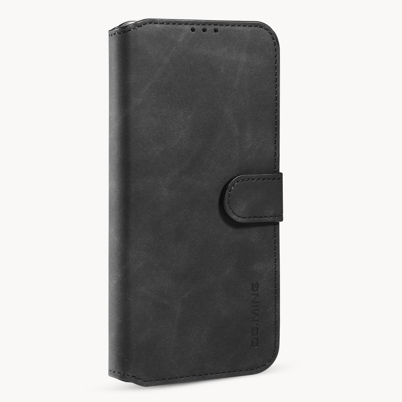 DG.MING Retro Style läderfodral med ställ, iPhone 12 Mini, svart