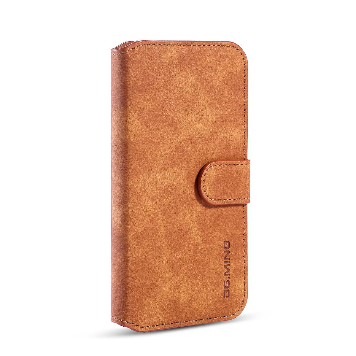 DG.MING Retro läderfodral med ställ till iPhone 11 Pro, brun