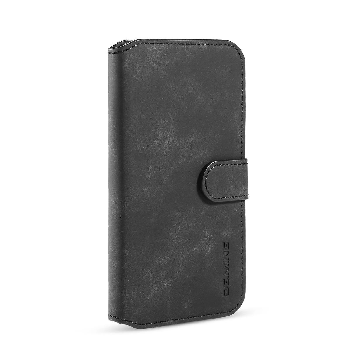 DG.MING Retro läderfodral, ställ/kortplats, iPhone 11, svart