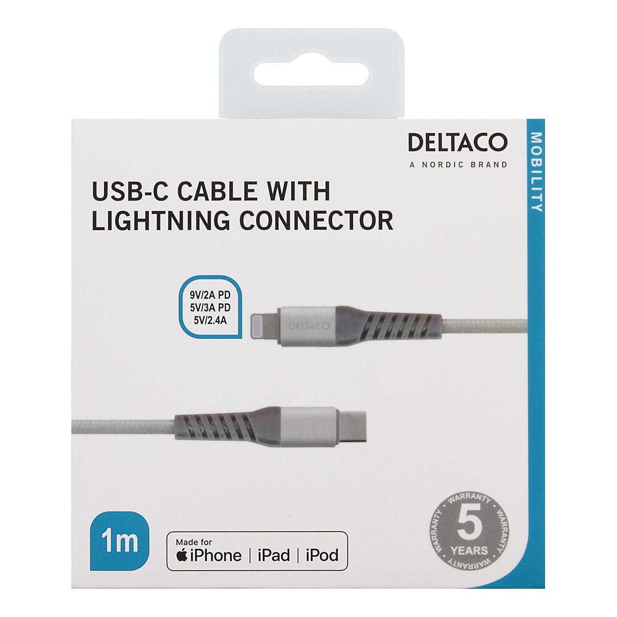 Deltaco USB-C till Lightning kabel, 1m, 5V/3A PD, silver
