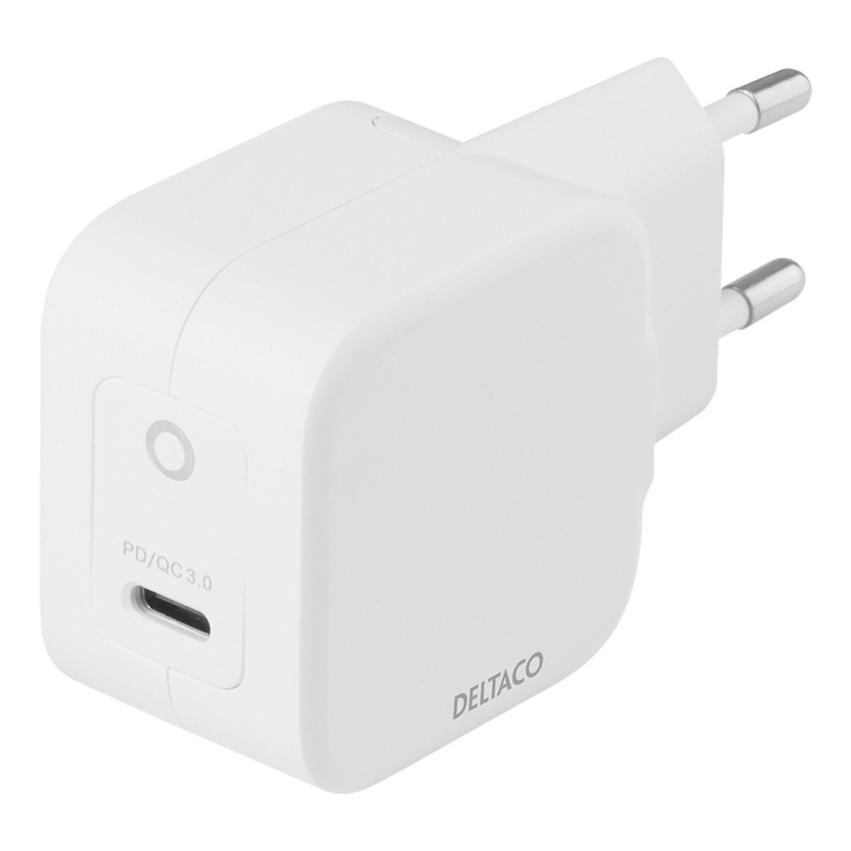 Deltaco USB-C väggladdare med PD och GaN-teknologi, 30W, vit