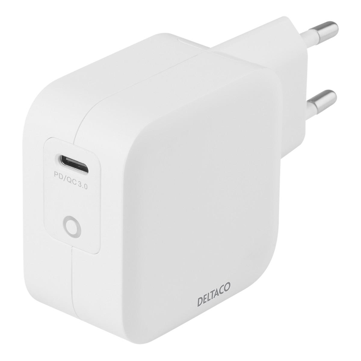 Deltaco USB-C väggladdare med PD och GaN-teknologi, 61W, vit