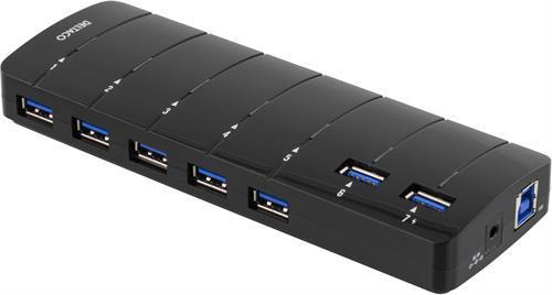 Deltaco USB3.0 hubb svart, 7-port