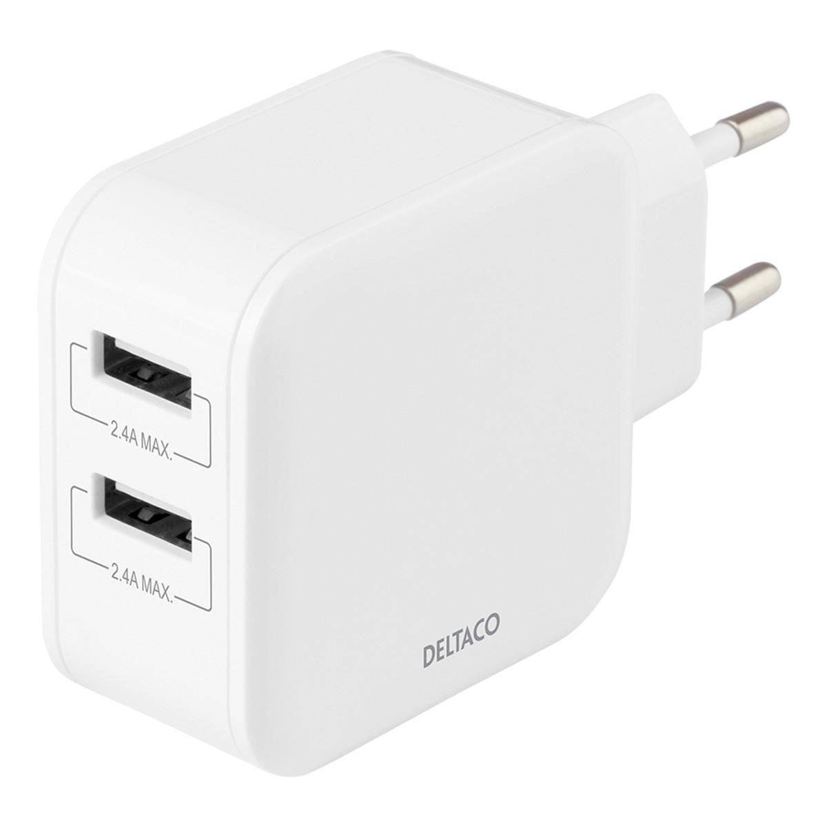 Deltaco Väggladdare med dubbla USB-A portar, 4.8A, 24W, vit