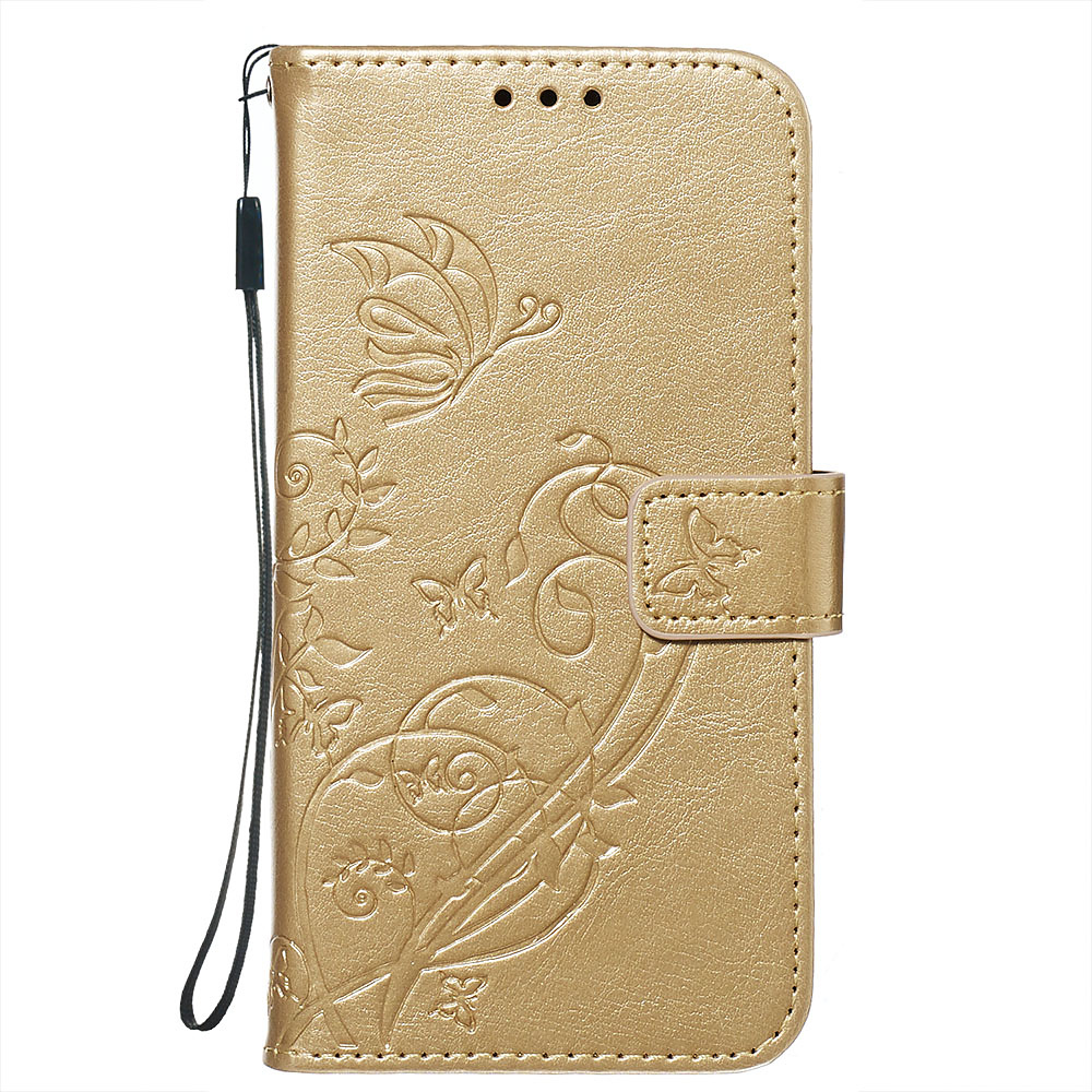 Embossment läderfodral, vristband/stöd, iPhone 11 Pro Max, guld