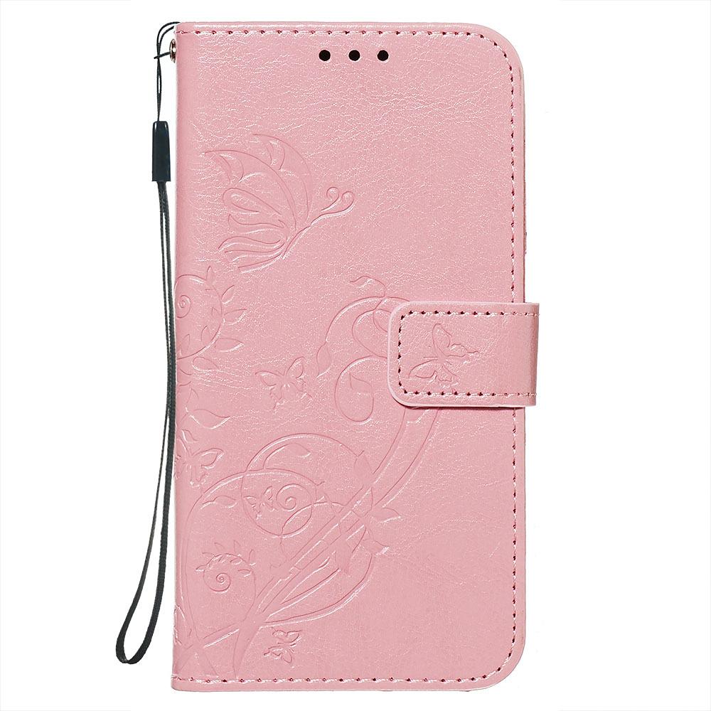 Embossment läderfodral med vristband, iPhone 11 Pro Max, rosa