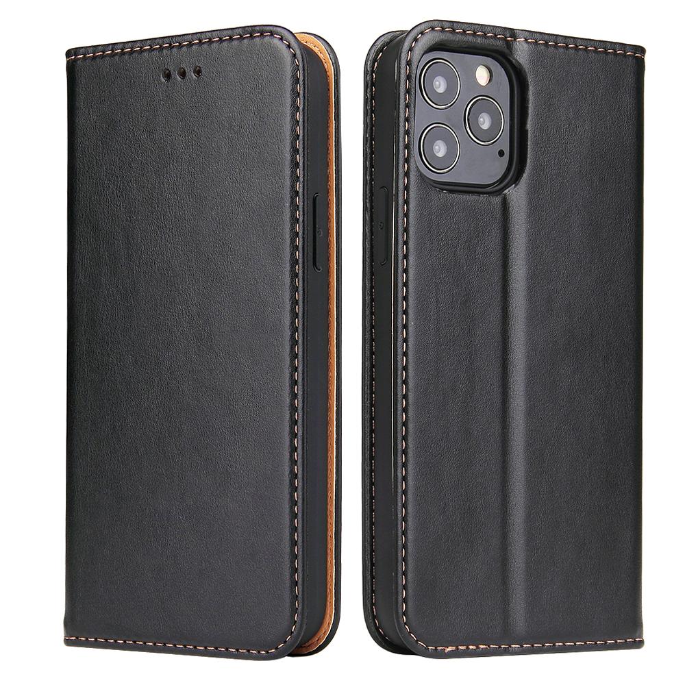 Läderfodral med kortplats, iPhone 12/12 Pro, svart