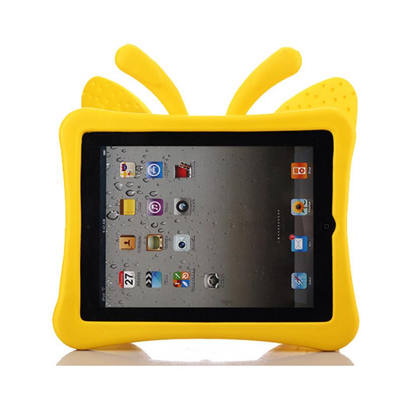 Fjärilsformat barnfodral till iPad 2/3/4, gul