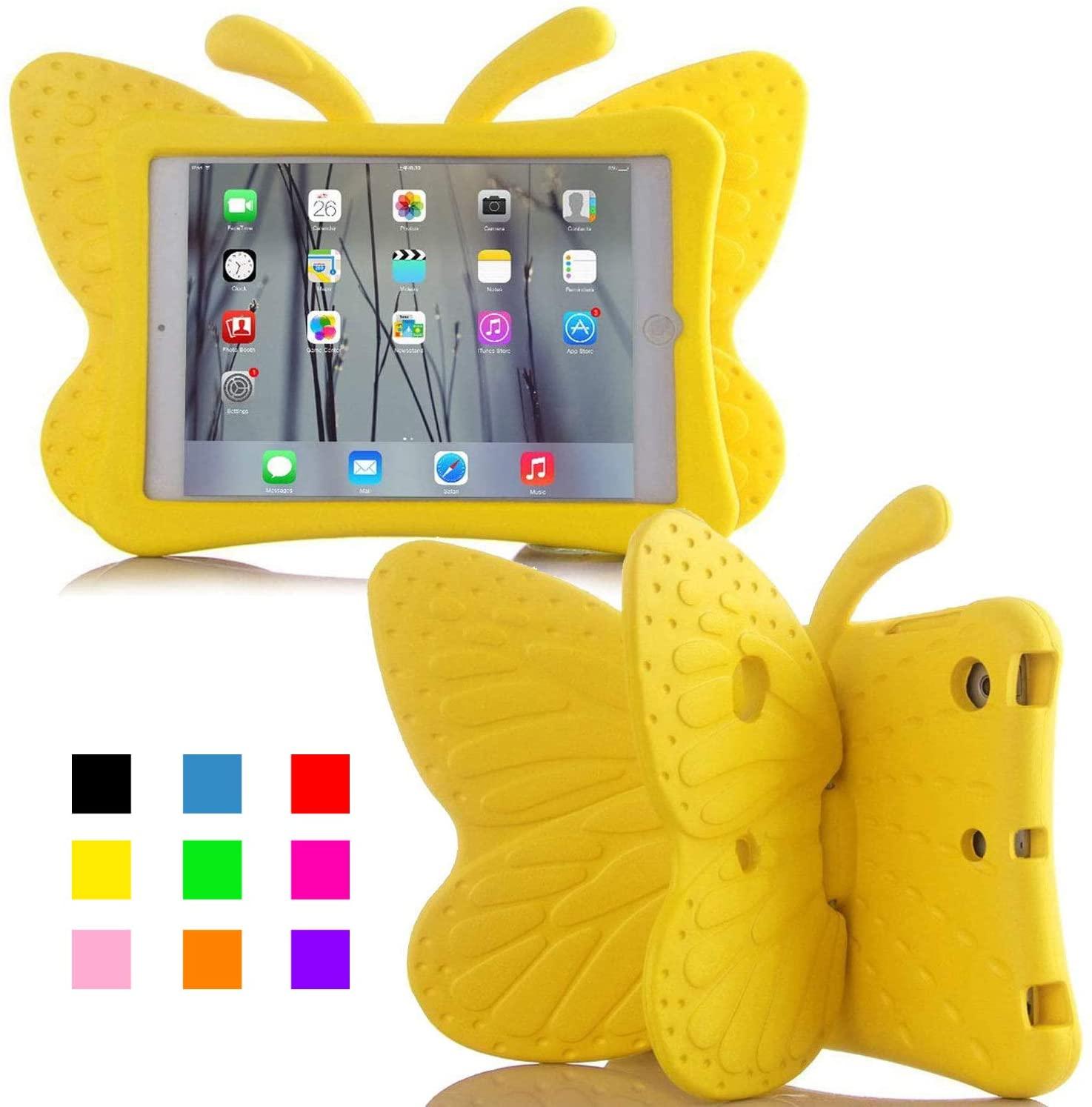 Fjärilsformat barnfodral till iPad 10.2/Pro 10.5/Air 3, gul