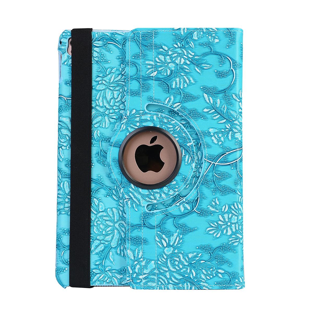 Läderfodral blommor blå, iPad Air 3, Pro 10.5