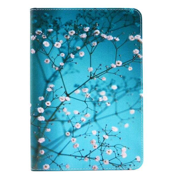 Blommigt läderfodral med ställ till iPad Mini 4, blå