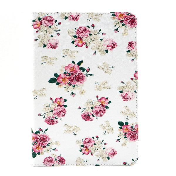 Blommigt läderfodral med ställ till iPad Mini 4, vit
