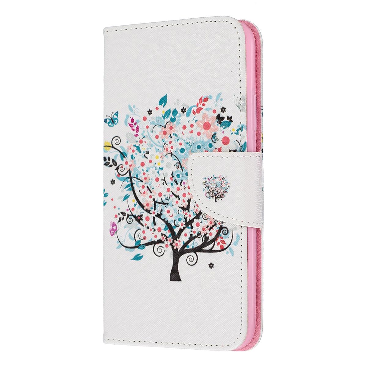 Läderfodral med ställ/kortplats blommigt träd, iPhone 11 Pro Max