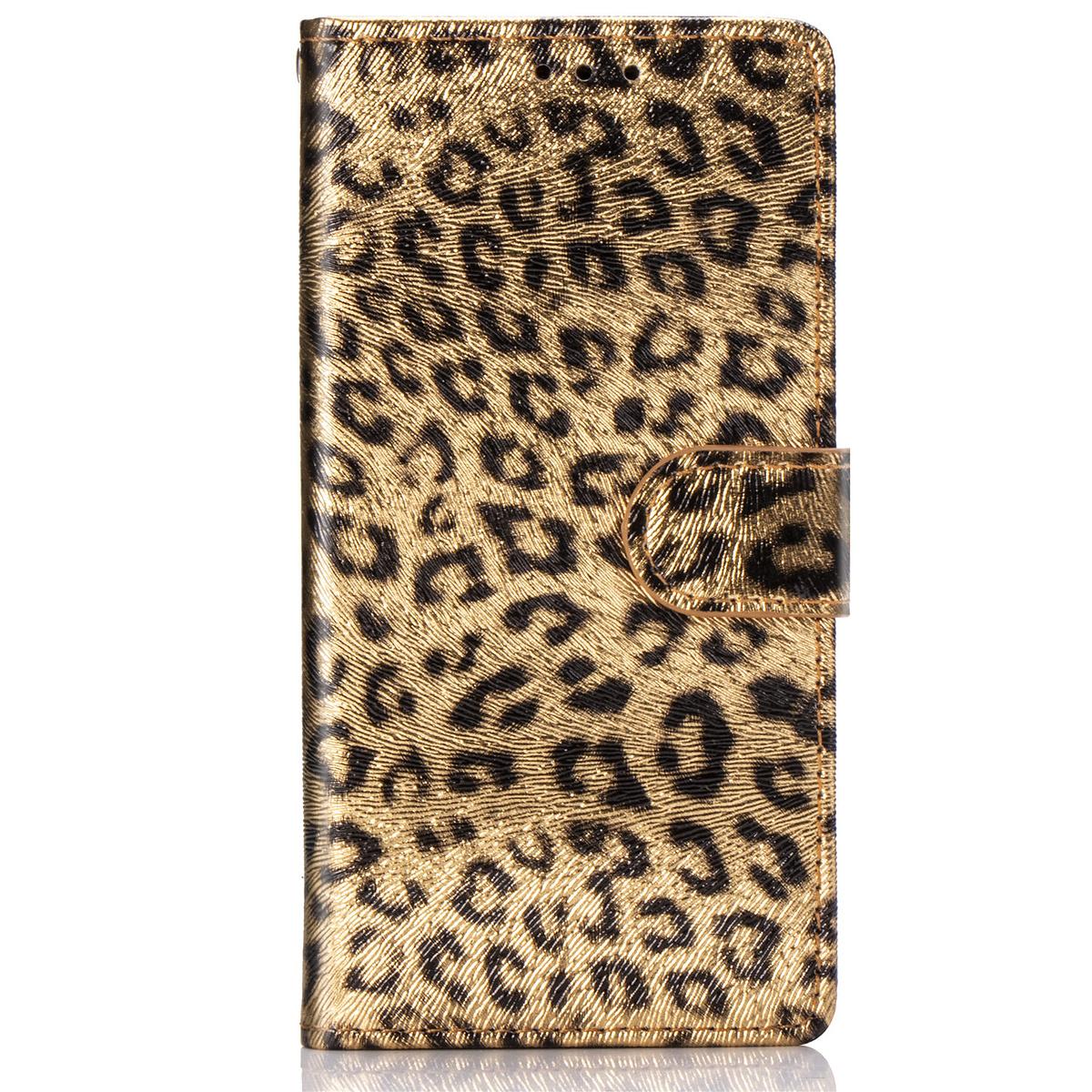 Läderfodral med ställ/kortplats leopard guld, iPhone 11 Pro