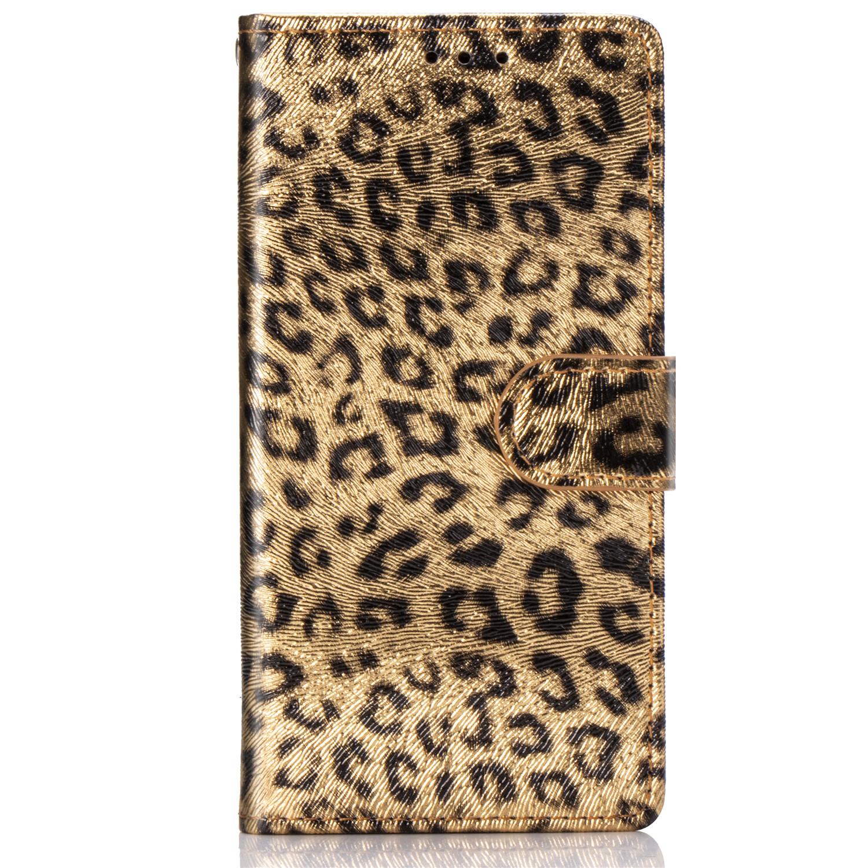 Leopard läderfodral med ställ/kortplats, iPhone 12 Pro Max, guld