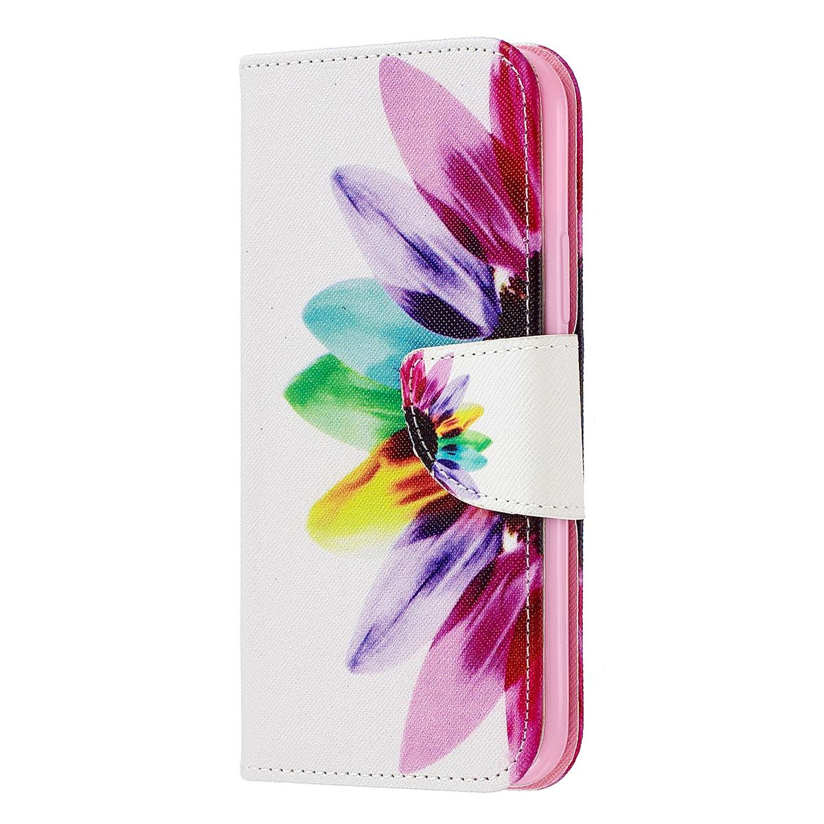 Läderfodral med ställ/kortplats, vacker blomma, iPhone 11 Pro