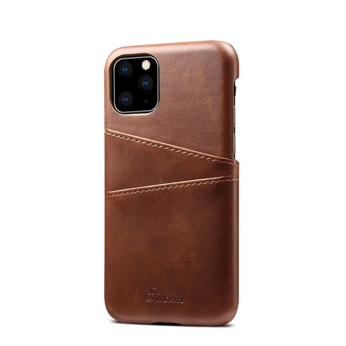 Läderskal med 2 kortplatser till iPhone 11 Pro, brun