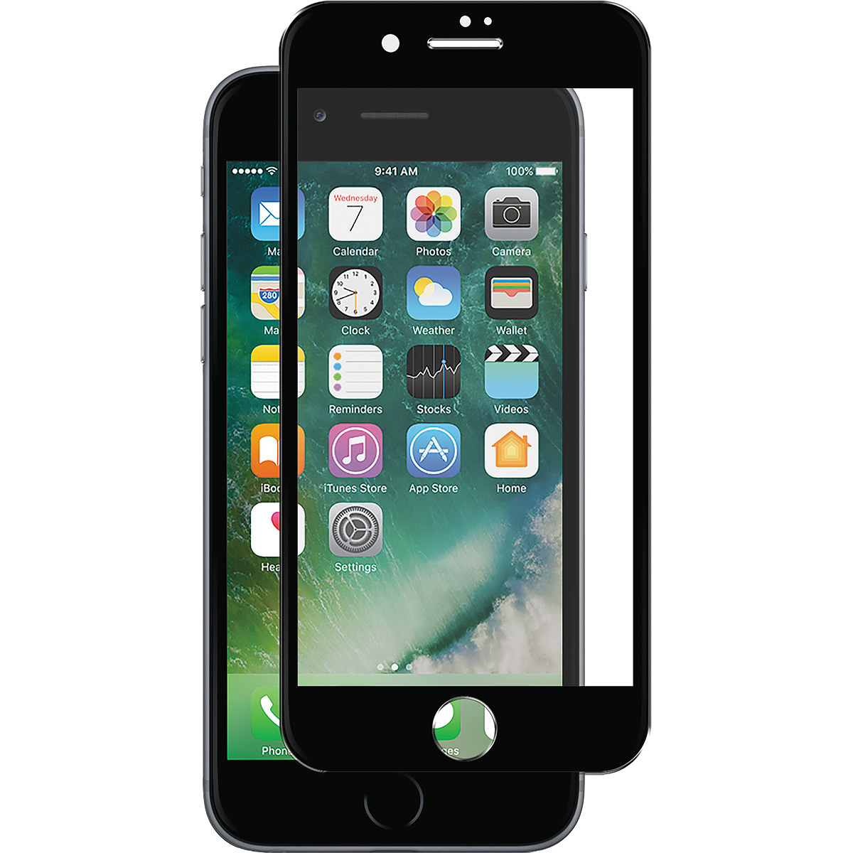 Full-Fit Skärmskydd iPhone 8/7/6S Plus, äkta glas, Panzer, svart