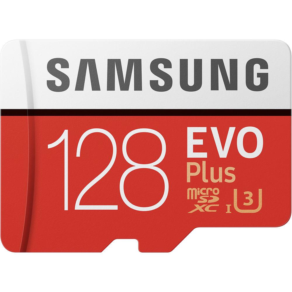 128GB Samsung EVO Plus MicroSDXC med SD-adapter, 100MB/s