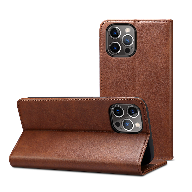 Läderfodral med kortplats och ställ, iPhone 12 Pro Max, mörkbrun