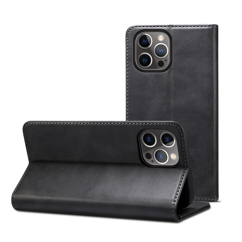 Läderfodral med kortplats och ställ, iPhone 12 Pro Max, svart