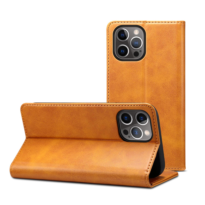 Läderfodral med kortplats och ställ, iPhone 12/12 Pro, ljusbrun