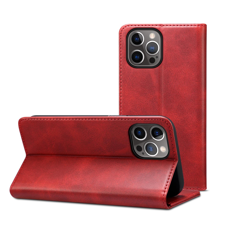 Läderfodral med kortplats och ställ, iPhone 12/12 Pro, röd
