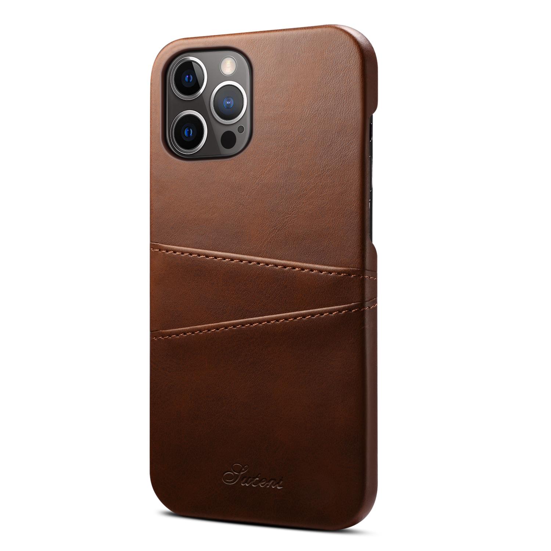 Läderskal med 2 kortplatser till iPhone 12 Pro Max, mörkbrun