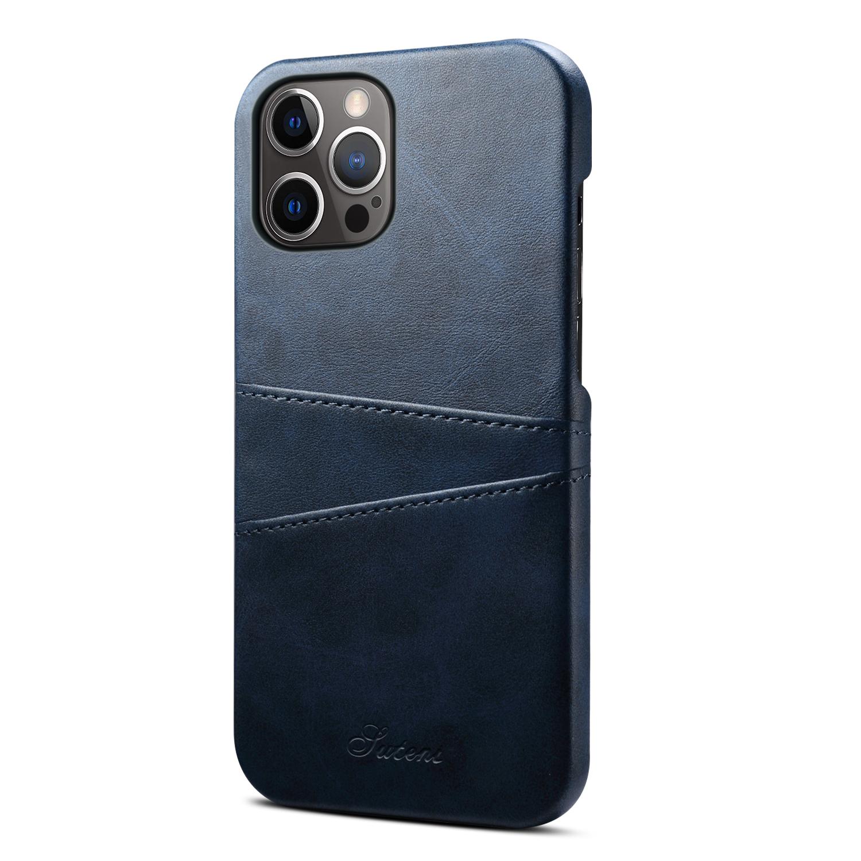 Läderskal med 2 kortplatser till iPhone 12 Pro Max, mörkblå