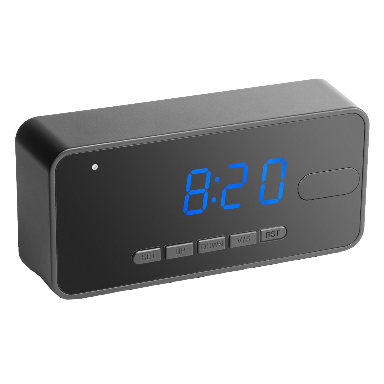 Technaxx Skrivbordsklocka med rörelsedetektion, HD-kamera, svart