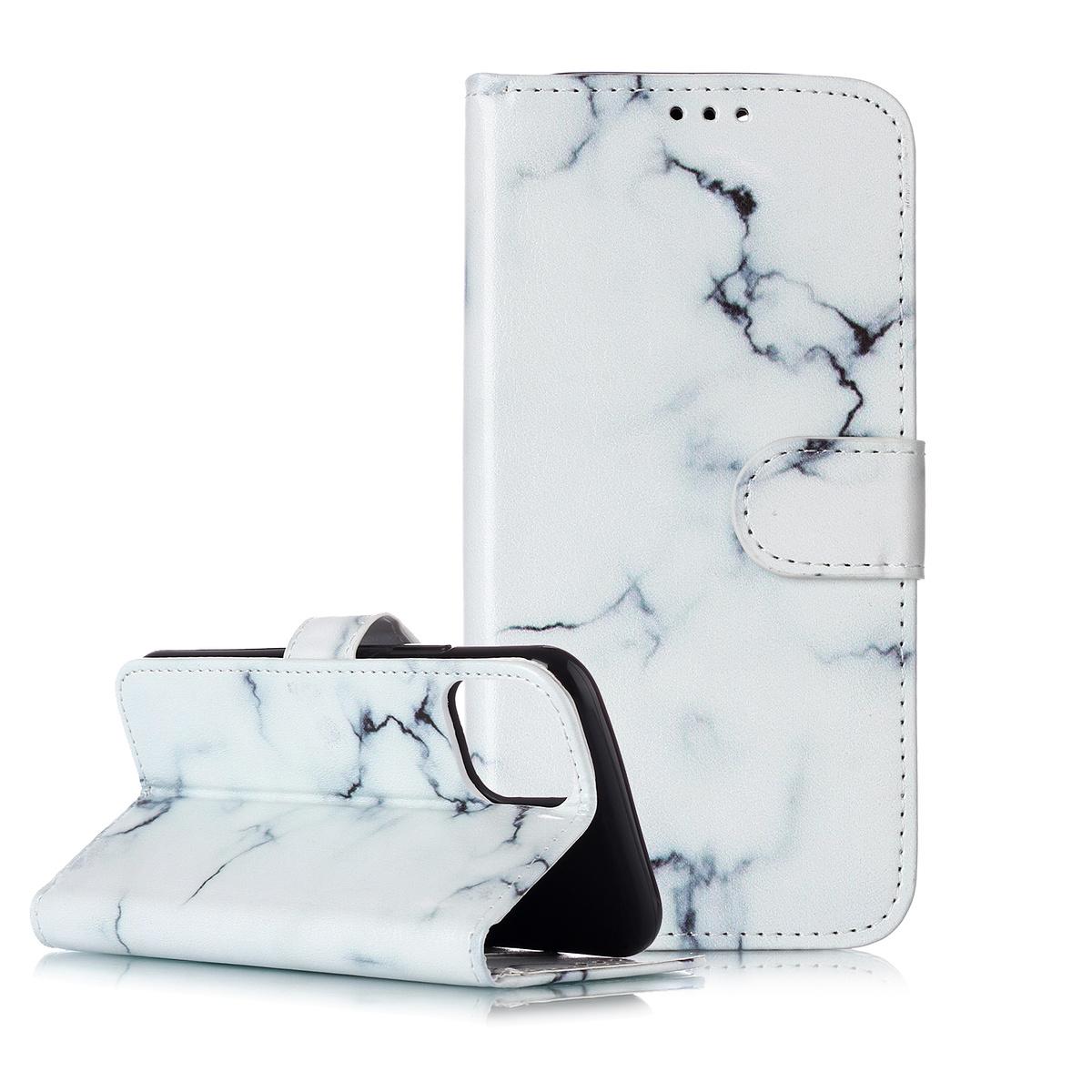 Trendigt läderfodral med ställ, marmor, iPhone 11 Pro Max, vit