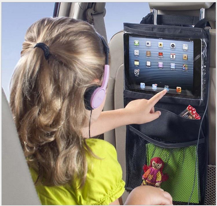 Universal iPad-hållare för bilens baksäte med flera fack